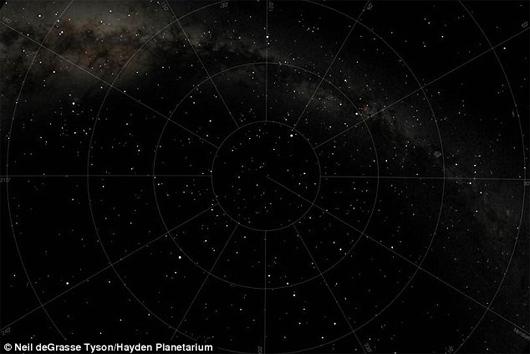 Cielo del 15 de abril de 1912  a las 4:20 am, en el lugar del hundimiento Titanic, según el Planetario Hayden
