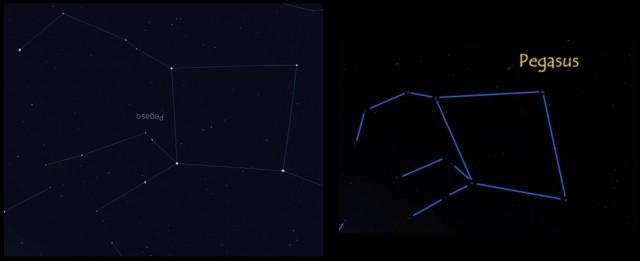 Constelación de Pegaso real y la que se muestra en de Titanic, versión 2012