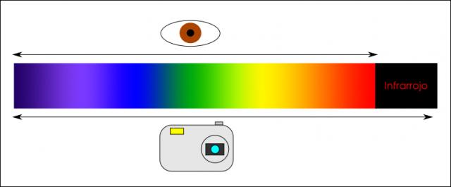 La franja del espectro detectada por un ojo humano y la mayoría de cámaras digitales no es exactamente igual