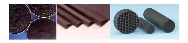Carbones activos granulares, pulverulentos y en pellets; telas de carbón activo; monolitos de carbón activo.