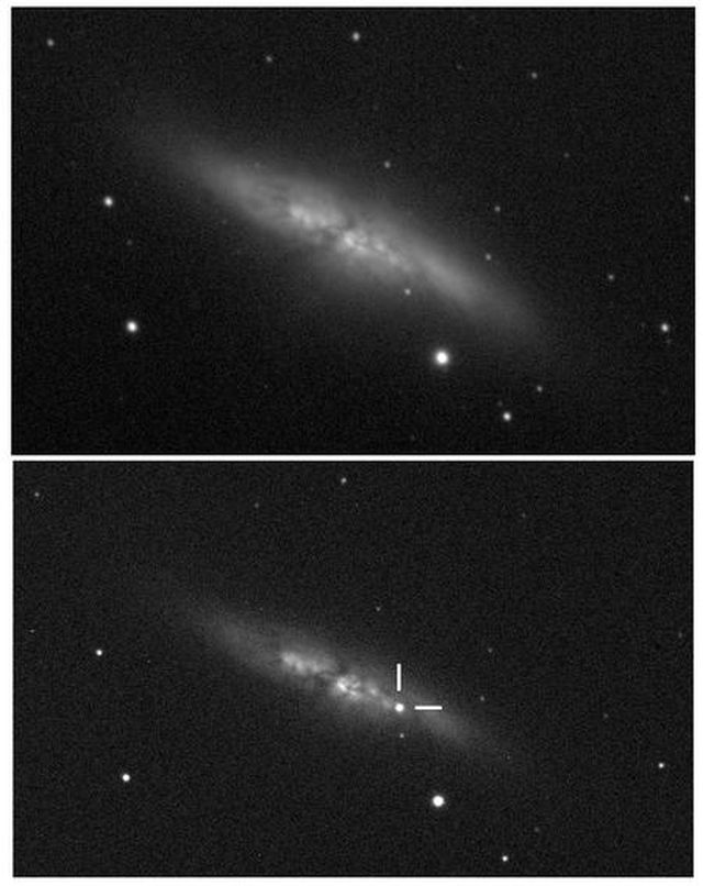 Imagen del descubrimiento de la supernova SN 2014J en M 82 (imagen inferior) comparada con una imagen anterior de la galaxia. Imagen del descubrimiento obtenida a las 19:20 TU (Tiempo Universal) del 21 de enero de 2014 usando el telescopio automático de 35 cm del Observatorio de la Universidad de Londres (UCL). Crédito: UCL/University of London Observatory/Steve Fossey/Ben Cooke/Guy Pollack/Matthew Wilde/Thomas Wright.