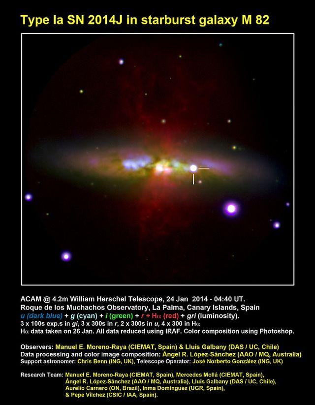 Imagen de la galaxia M 82 (localizada a 12 millones de años luz sobre la constelación boreal de la Osa Mayor) con la supernova SN 2014J. La supernova, de tipo Ia, aparece señalada con dos líneas. Los datos para hacer esta imagen se consiguieron con la cámara ACAM del Telescopio William Herschel (ING, Observatorio del Roque de los Muchachos, isla de La Palma, España), que tiene un espejo primario de 4.2 metros de tamaño. Se usaron los filtros u (coloreado en azul oscuro, dos tomas de 300 segundos), g (en cían, 3 tomas de 100 segundos), i (en verde, tres tomas de 100 segundos) y r (en rojo, 3 tomas de 100 segundos). Los datos se consiguieron el 24 de enero hacia las 04:40 UT, excepto los datos en filtros r y u (25 de enero hacia las 06:00 UT). Además, se ha incluido una toma extra en el filtro Hα, también codificado en rojo, conseguida combinando 4 imágenes de 300 segundos. Los datos en Hα se obtuvieron el 26 de enero a las 06:30, terminando ya durante el crepúsculo. Créditos: Observadores: Manuel E. Moreno-Raya (CIEMAT, Spain) y Lluís Galbany (DAS / UC, Chile), Procesado de datos y composición en color: Ángel R. López-Sánchez (AAO / MQ, Australia), Astrónomo de soporte: Chris Benn (ING, Reino Unido), Operador del Telescopio: José Norberto González (ING, Reino Unido). Equipo de investigación: Manuel E. Moreno-Raya (CIEMAT, España), Mercedes Mollá (CIEMAT, España), Ángel R. López-Sánchez (AAO / MQ, Australia), Lluís Galbany (DAS / UC, Chile), Aurelio Carnero (ON, Brasil), Inma Domínguez (UGR, España) y Pepe Vílchez (CSIC / IAA, España).
