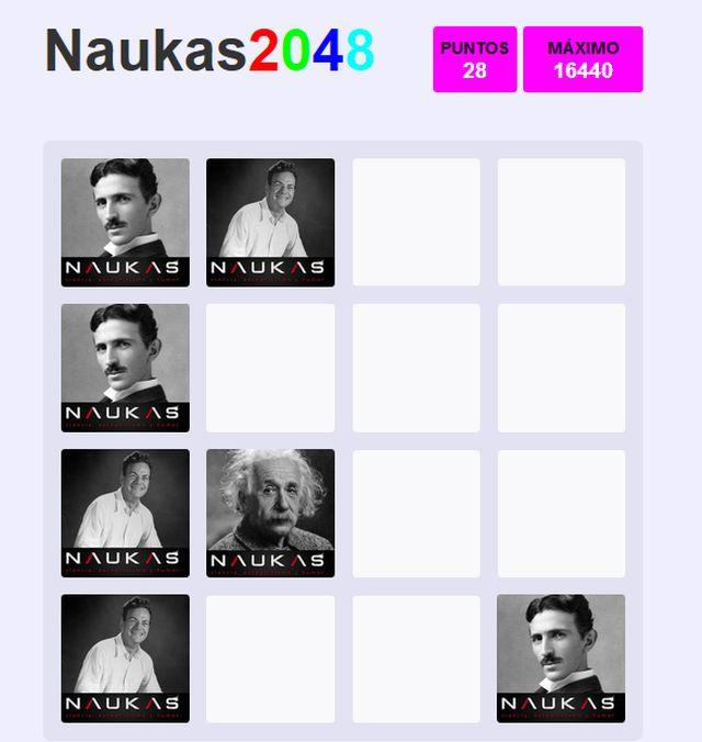 Juego Naukas 2048 adaptado a científicos