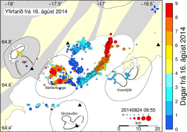 Localización de los epicentros de los terremotos desde el pasado 16 de Agosto. El color indica el número de días en el que ha ocurrido el terremoto tras el 16 de Agosto. El tamaño indica la magnitud de estos. Cortesía de Iceland Met Office.