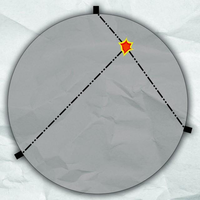 """Esquema de una Tierra isótropa. En su volumen tiene las mismas propiedades en todas las direcciones. El terremoto se produciría dónde está el dibujo de la """"explosión"""". Las ondas sísmicas están dibujadas con rayas discontinuas y puntos y seguirían una línea recta. Los cuadrados que hay sobre la superficie serían las estaciones sísmicas."""