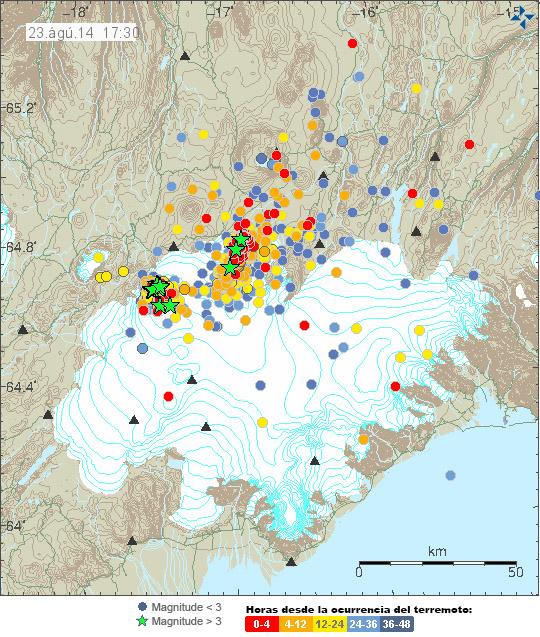 Epicentro de los terremotos de las últimas 48 horas en la zona de Vatnajökull.  Iceland Met Office.