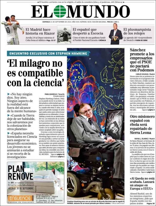 Portada del diario El Mundo 21 septiembre 2014