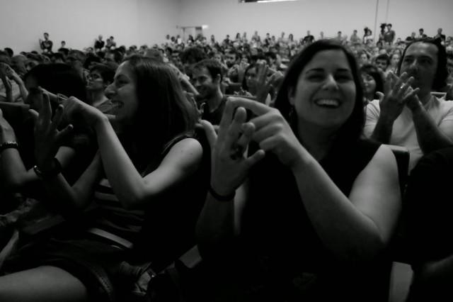 El público de Naukas14, feliz por sus avances en matemáticas. | Foto: Xurxo Mariño