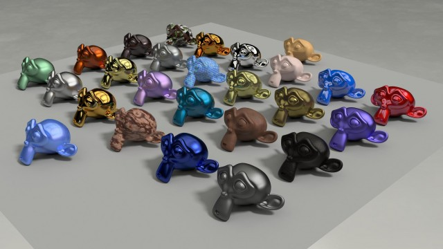 Un mismo objeto visualizado con distintos materiales. Imagen tomada de http://blenderartists.org/forum/showthread.php?278285-Yet-Another-Thread-about-Cycles-Materials/page7