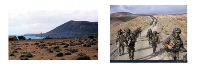 Imágenes del campo de maniobras del Ejército en  Pájara (Fuerteventura).
