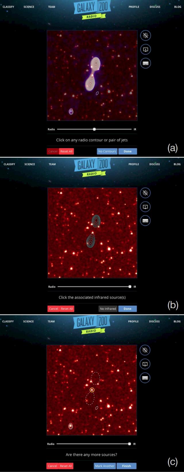 Interfaz de Radio Galaxy Zoo. Cada panel muestra los pasos que se deben realizar a la hora de identificar radiofuentes con la galaxia huésped en infrarrojo. Cada panel muestra una imagen con un tamaño de 3 minutos de arco (1/10 parte del diámetro aparente de la luna llena en el cielo) por 3 minutos de arco centrada en la radiofuente que aleatoriamente ha tocado estudiar. En el panel superior (a) se selecciona las componentes que pertenecen a la misma radiofuente. En este ejemplo, las dos radiofuentes centrales parecen corresponder a la misma radiogalaxia. En el panel medio (b), donde aparecen los contornos en radio superpuestos sobre la imagen en infrarrojo, se asocia la componente estelar de la galaxia a la emisión en radio seleccionada. Finalmente, en el panel inferior (c) se elige entre clasificar otra de las radiofuentes que puedan aparece en el campo de visión (en este ejemplo se ha clasificado otro objeto localizado abajo a la izquierda de la radiofuente principal) o pasar a un nuevo objeto. Crédito de la imagen: Julie Banfield (CSIRO/ANU/RSAA) y equipo RGZ.