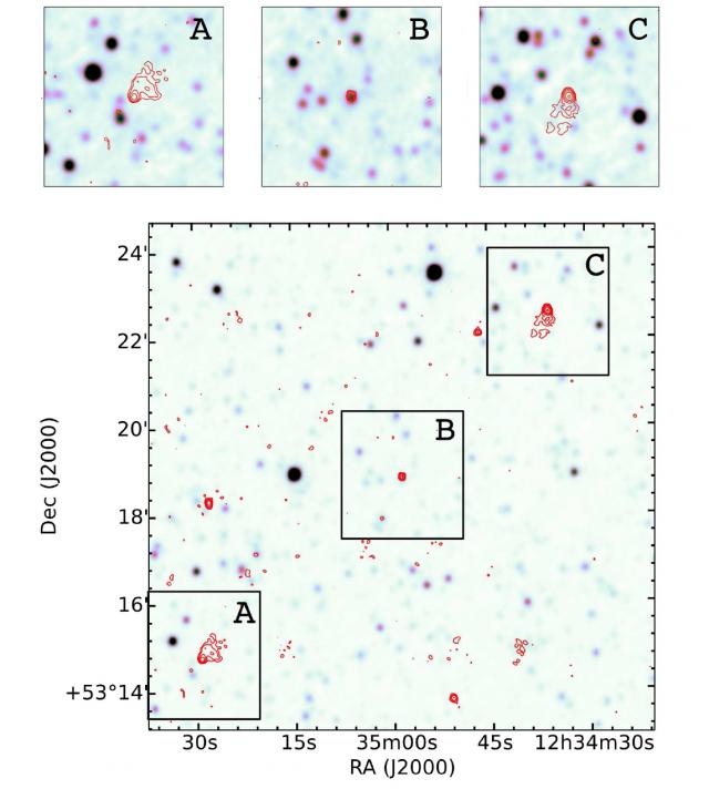 Ejemplo del potencial que tiene el proyecto RGZ a la hora de identificar radiofuentes curiosas o muy extensas, gracias al foro que ofrece RadioTalk. Los tres paneles superiores (A, B y C), que poseen el tamaño estándar de RGZ de 3 minutos de arco por 3 minutos de arco, eran las imágenes que se presentaban a los participantes en la interfaz de RGZ. La imagen inferior muestra un campo mucho más amplio de la zona (11.5 minutos de arco por 11.5 minutos de arco) y donde se aprecia que, en efecto, A, B y C pertenecen a la misma radiogalaxia, que fue identificada como el objeto SDSS J123458.46+531851.3 sobre la radiofuente compacta B. Crédito de la imagen: Julie Banfield (CSIRO/ANU/RSAA) y equipo RGZ.