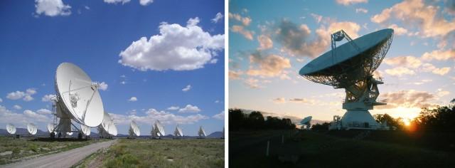 Imágenes de los radio-interferómetros Very Large Array (VLA, Nuevo México, EE.UU., izquierda) y Australia Telescope Compact Array (ATCA, Nueva Gales del Sur, Australia, derecha), con los que se han obtenido los datos en radio del programa RGZ. Crédito: Ángel R. López-Sánchez (AAO/MQ).