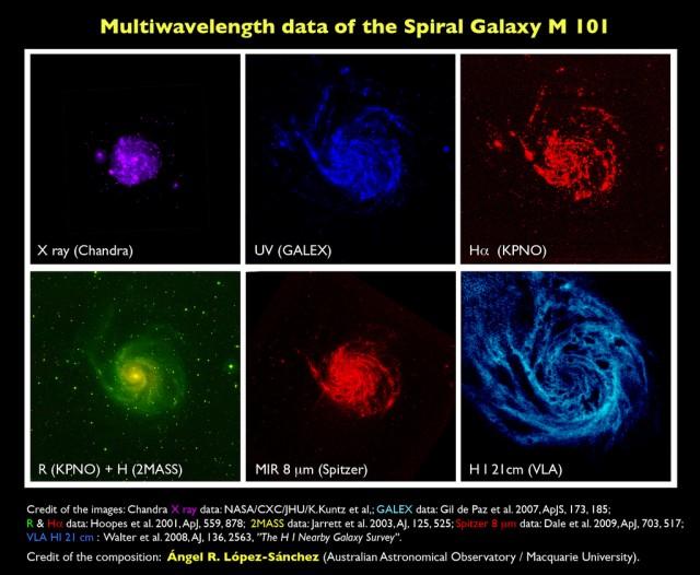 """Imagen: Mosaico mostrando seis vistas de la galaxia M 101 a distintas longitudes de onda. Crédito de las imágenes: Datos en rayos X (Chandra): NASA/CXC/JHU/K.Kuntz et al,; datos en UV (GALEX): Gil de Paz et al. 2007, ApJS, 173, 185; datos en filtros R y Hα (KPNO): Hoopes et al. 2001, ApJ, 559, 878; datos en infrarrojo cercano (2MASS): Jarrett et al. 2003, AJ, 125, 525, datos a 8 micras (Spitzer): Dale et al. 2009, ApJ, 703, 517; datos en la línea de 21cm de HI (VLA): Walter et al. 2008, AJ, 136, 2563, """"The H I Nearby Galaxy Survey"""". Crédito de la composición: Ángel R. López-Sánchez (AAO/MQ)."""