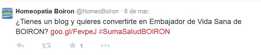 Concurso Boiron tuit 1
