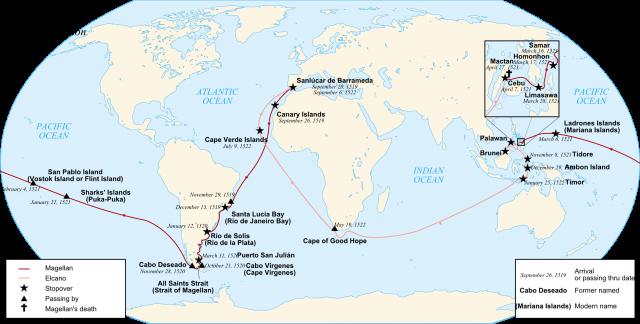 La ruta seguida por la nao Victoria