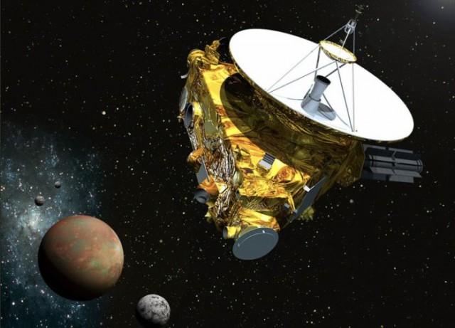 Recreación artística del encuentro de la New Horizons con Plutón