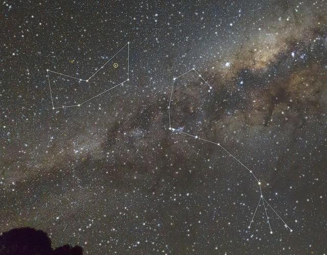 Ampliación de la imagen anterior, mostrando de forma esquemática las constelaciones de Scorpio (El Escorpión, a la derecha) y Ara (el Altar, a la izquierda). Mu Arae se encuentra señalada dentro de un círculo amarillo. Crédito: Ángel R. López-Sánchez.
