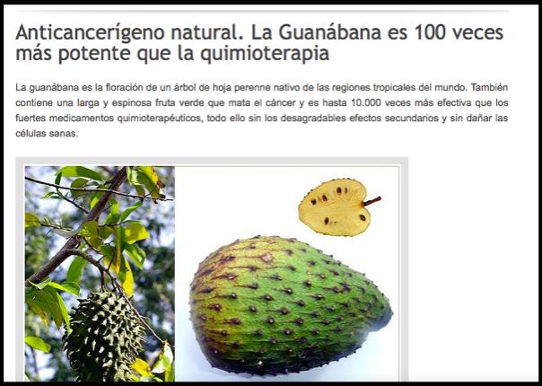 afirmaciones falsas Guanabana