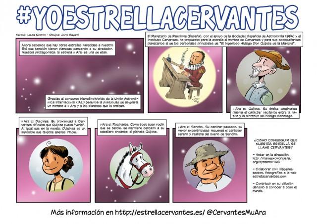 Cómic sobre la iniciativa #YoEstrellaCervantes. Crédito: Texto: Laura Morrón, Dibujos: Jordi Bayarri.