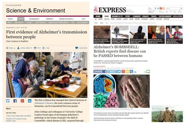 Noticia aparecida en el Financial Times (izquierda) y en el Daily and Sunday Express (derecha).