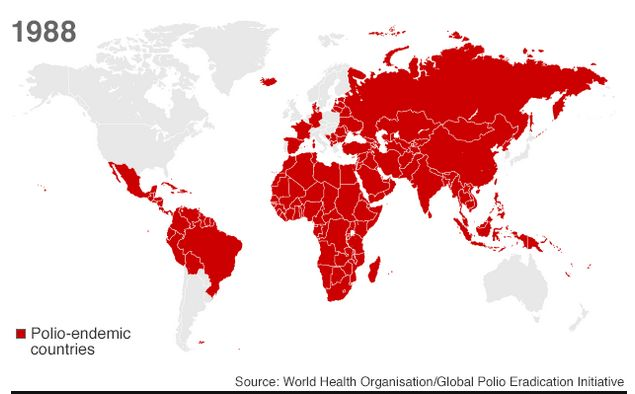 1988 datos de la Organización Mundial de la Salud via BBC
