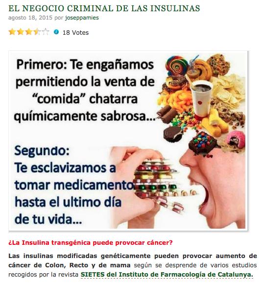 Las afirmaciones irresponsables de Josep Pàmies publicadas en su web el 18 de agosto de 2015