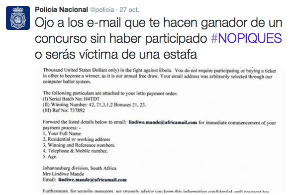 «Ojo a los e-mail que te hacen ganador de un concurso sin haber participado #NOPIQUES o serás víctima de una estafa». [Captura de un email]