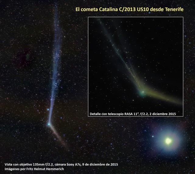 """Visiones del cometa C/2013 SU10 (Catalina) obtenidas desde Tenerife. En primer plano se muestra una fotografía obtenida en la madrugada del miércoles 9 de diciembre con una cámara Sony A7s y objetivo Samyang a f/2.2, cuando el cometa se encontraba muy cerca del planeta Venus (el punto brillante a la derecha) desde los cielos de la Tierra. En el recuadro visión a través de un telescopio Celestron RASA de 11"""" a f/2.2 el pasado 2 de diciembre, mostrando muchos detalles en las colas del cometa. Crédito: Fritz Helmut Hemmerich."""