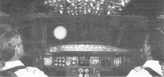 Imagen de Diario de Avisos, 15-9-2002, en la que se intentó representar la cabina del Fokker y la extraña luz al frente (cortesía Diario de Avisos)