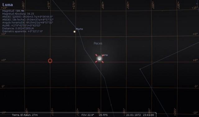 Representación astronómica de la Luna y Marte el 21 de enero de 1972 desde El Aaiún (cortesía Julio Plaza del Olmo)