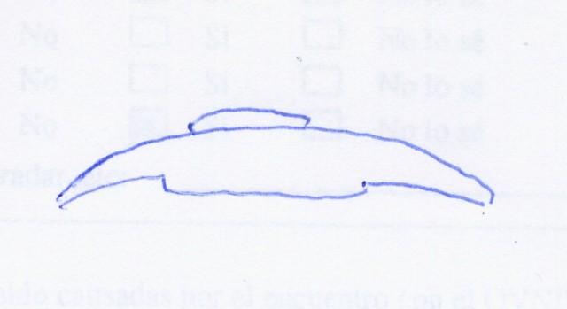 Dibujo del fenómeno observado realizado por Salvador Pardo Checa en mayo de 2015. Para su compañero de cabina, Álvaro González Tarife, el fenómeno observado era, en cambio, una esfera luminosa de color amarillo (cortesía S. Pardo Checa).