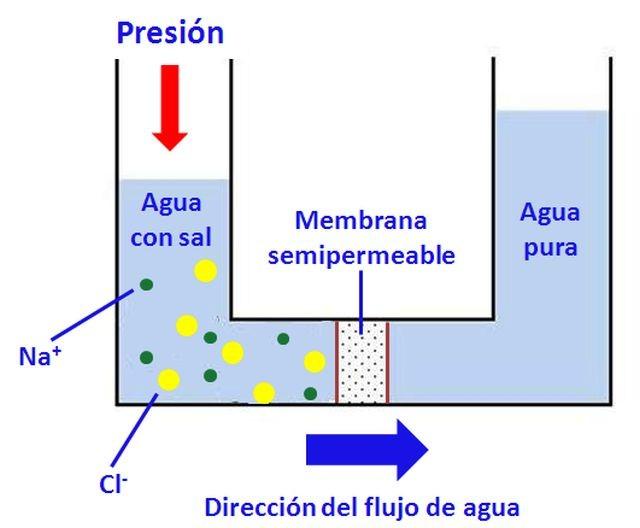 Ilustración de un proceso de ósmosis inversa
