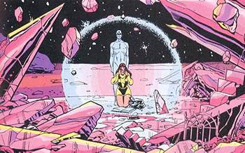 Dr. Manhattan y Silk Spectre en Marte