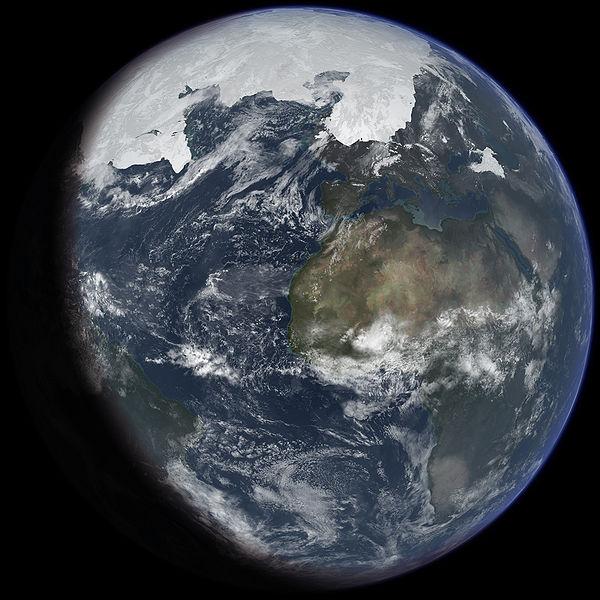 Representación artísitca de la extensión de hielo en el hemisferio norte en el máximo de una era glacial. Fuente: https://en.wikipedia.org/wiki/Ice_age