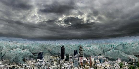 Representación artística de los varios kilómetros de espesor de hielo que cubrían la situación actual de Londres hace unos 20,000 años, al final de la última glaciación. Funete: http://www.armaghplanet.com/blog/ice-worlds-a-cool-new-show-at-armagh-planetarium.html