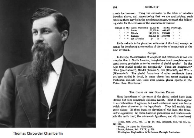 A la derecha de la imagen la página donde Chamberlin detalla los periodos glaciales en norteamerican en el libro de texto de geología más influyente de la primera mitad del siglo XX: A college text-book of geology
