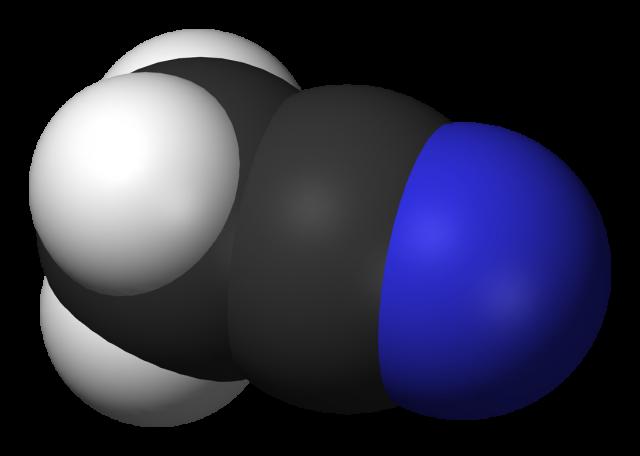El acetonitrilo en cuestión, que no ha querido hacer declaraciones. Créditos:  Benjah-bmm27- https://es.wikipedia.org/wiki/Acetonitrilo