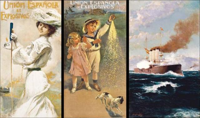 De izquierda a derecha: Señorita con cohete (Cecilio Plá, 1906), Bengalas (Manuel Benedito, 1910) y El saludo en la mar (Juan Martínez Abades, 1912) © Fundación MAXAM