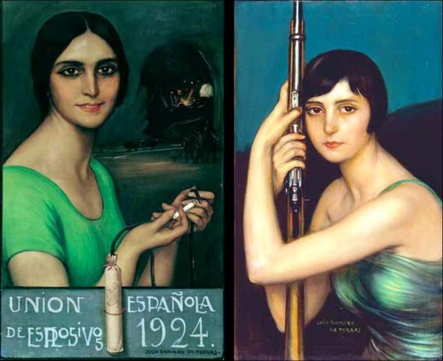 """Algunos cuadros de Julio Romero de Torres para los """"Calendarios de Explosivos"""": Encendiendo la mecha (1924) y Escopeta de caza (1929) © Fundación MAXAM"""