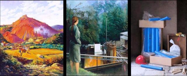 De izquierda a derecha: Fábrica de UEE en Cardona (Anónimo, 1932), Galdácano (Clara Gangutia, 1998) y Composición con explosivos (Guillermo Muñoz Vera, 2001) © Fundación MAXAM