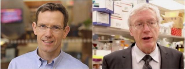 Los investigadores de la Clínica Mayo en Rochester, Minnesota, Jan van Deursen (a la izquierda) y James Kirkland (a la derecha)