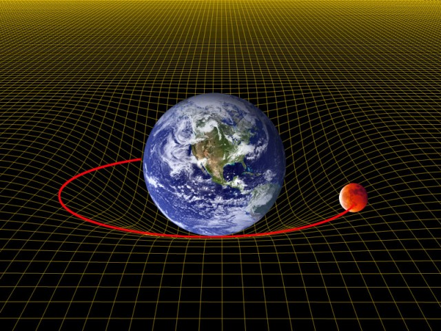 """La Tierra curva el espaciotiempo a su alrededor. La curvatura de ésta """"atrapa"""" a la Luna, que se ve forzada a orbitar alrededor de la primera."""