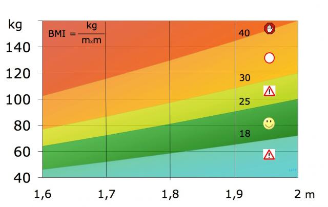 Valores del Índice de Masa Corporal (BMI) En función del peso y la talla