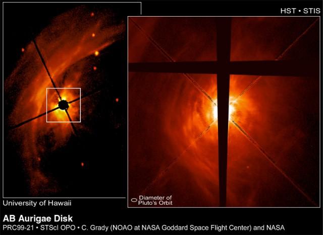 Disco protoplanetario que rodea a la Estrella AB Aurigae. Crédito: Telescopio Espacial Hubble/C.A. Grady (NOAO, NASA/GSFC), et al., NASA.
