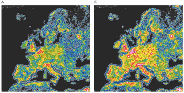 Figura 10: Comparación del brillo del cielo nocturno en Europa tal y como se ha medido con los datos de satélite (izquierda) que es ciego a la luz azul con su predicción adaptando la tecnología LED de lámparas de luz blanca a 4000K, sin aumentar el flujo fotónico de las luminarias instaladas en la actualidad. Crédito: Fabio Falchi y colaboradores.