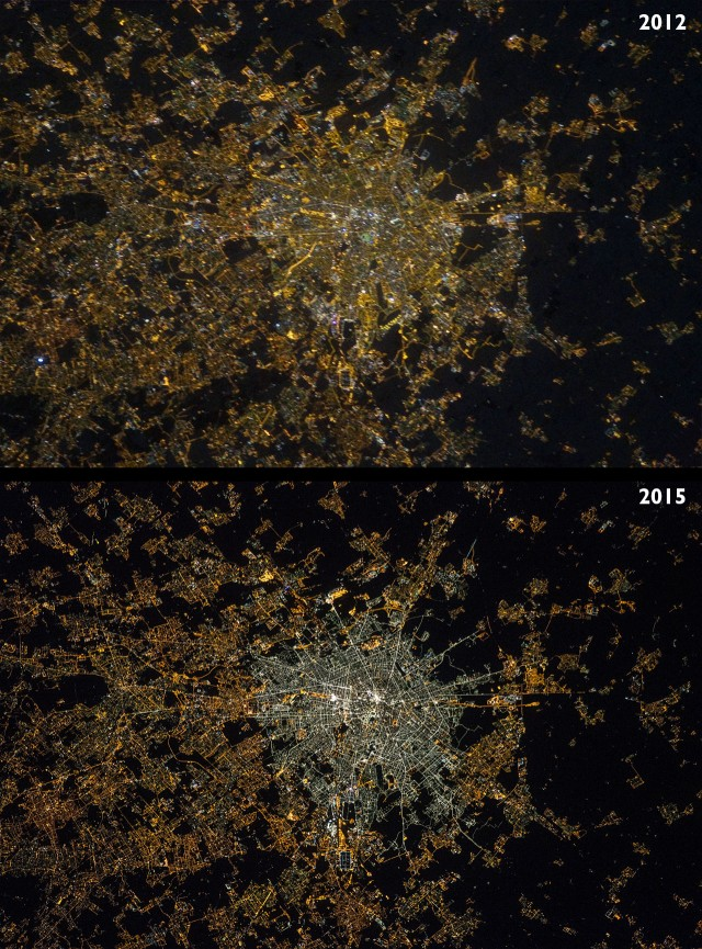 """Figura 11: Comparación entre la iluminación de Milán en 2012 antes de que se instalar la iluminación con LED en su centro (arriba) y en 2015 después de la instalación (abajo), tal y como se muestra en estas fotografías obtenidas por astronautas a bordo de la Estación Espacial Internacional. La segunda imagen fue obtenida después de que se instalara un dispositivo que """"corrige"""" el movimiento ocasionado por la alta velocidad a la que se mueve la ISS con respecto al suelo. Crédito: André Kuipers (izquierda) y Samantha Cristoforetti (derecha), NASA/ESA."""