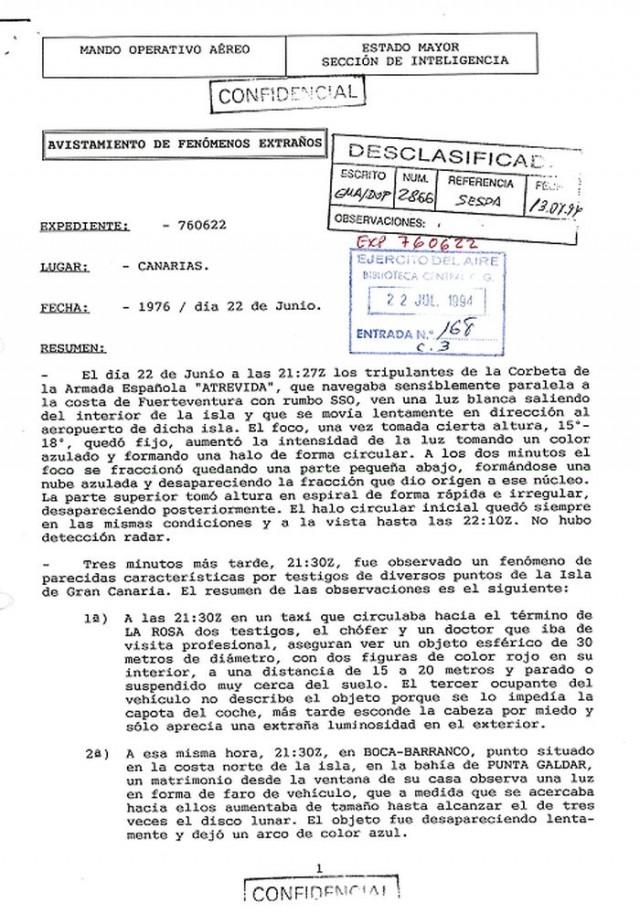 Portada del expediente 760622 del Ejército del Aire desclasificado el 20 de junio de 1994 (Ejército del Aire)