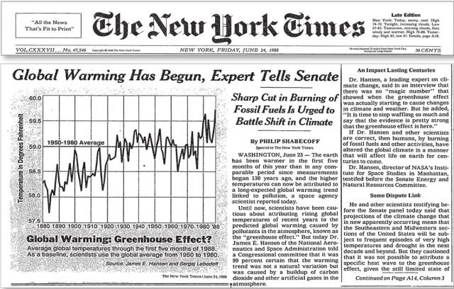 Artículo del NYT de 1988 recogiendo las declaraciones de James Hansen en el Senado.