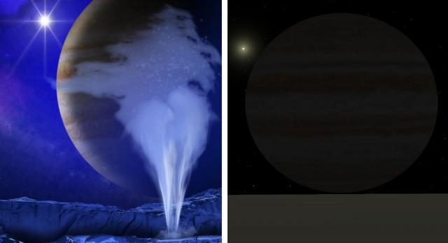 A la izquierda, representación artística de un géiser en Europa (fuente: NASA/JPL, nº de catálogo del Photojournal PIA17659). A la derecha, recreación simulada con Celestia de una vista similar desde Europa (fuente: el autor).